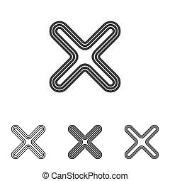 Line cancel logo design set