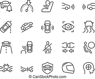 Line Car Safety Icons - Simple Set of Car Safety Related...
