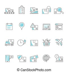 Line cargo, shipping, logistics and transportation icons