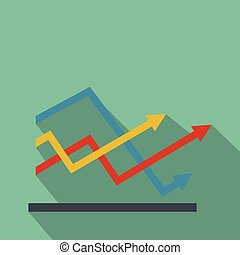 Line chart icon vector flat