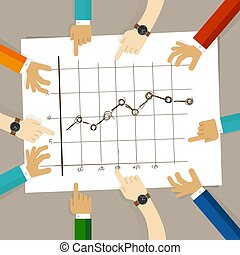 line chart with bullet marker hand drawing sketch analysis. team member together working discuss in a meeting hands pointing to paper