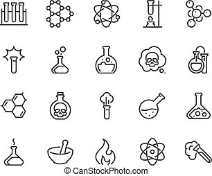 Line Chemical Icons - Simple Set of Chemical Related Vector...
