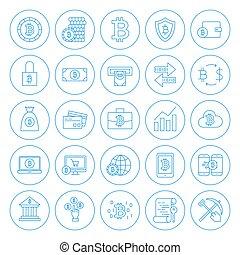Line Circle Bitcoin Icons