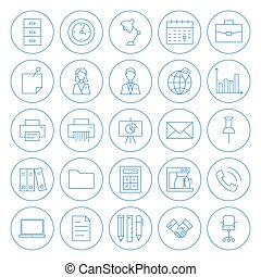 Line Circle Business Office Icons Set