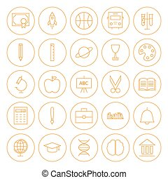 Line Circle Education Icons Set