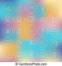 Line Circle Finance Business Office Icons Set