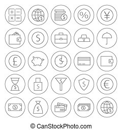 Line Circle Money Finance Banking Icons Set