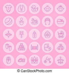 Line Circle Newborn and Baby Icons Set