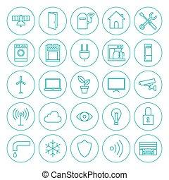 Line Circle Smart Home Technology Icons Set