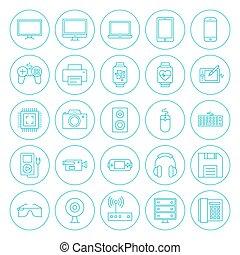 Line Circle Technology Gadgets Icons Set