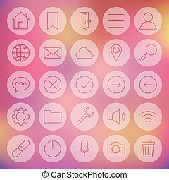 Line Circle Universal Web and Mobile User Interface Icons...