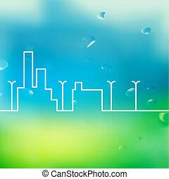 Line city scene.  illustration.