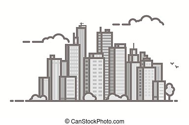 Line city scene