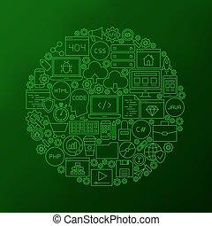 Line Coding Icons Circle