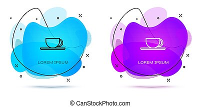 Line Coffee cup icon isolated on white background. Tea cup. Hot drink coffee. Abstract banner with liquid shapes. Vector Illustration