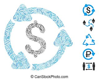 Line Collage Money Turnover Icon - Dash Mosaic based on ...