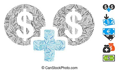 Line Collage Sum Money Icon - Dash Mosaic based on sum money...