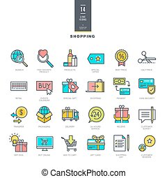 Line color icons for shopping