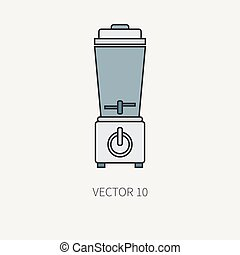 Line color vector kitchenware equipment icons blender. Cutlery tools. Cartoon style. Illustration and element for your design. Equipment for food preparation. Mixer. Kitchen. Household. Cooking. Cook.