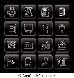 Line Computer Performance and Equipment Icons - Vector Icon...