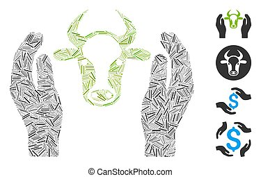Line Cow Head Care Hands Icon Vector Collage