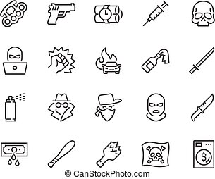 Line Crime Icons - Simple Set of Crime Related Vector Line...