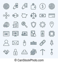 Line Cryptocurrency Icons. Vector Set of Thin Outline...