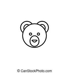 line cute teddy bear head design white background.
