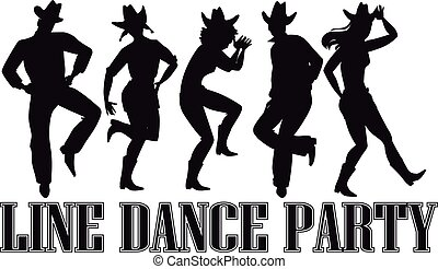 Country-western line dance party silhouette banner, EPS 8 vector illustration