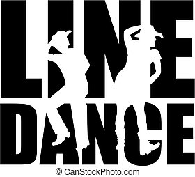 Line dance word with silhouette