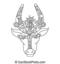 line decorative drawing of indian cow head, floral stylized