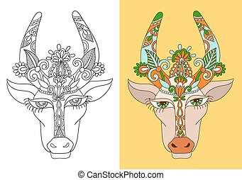 line decorative drawing of indian cow head, floral stylized...