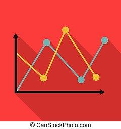 Line diagram icon vector flat