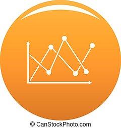 Line diagram icon vector orange