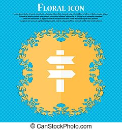 line directs icon. Floral flat design on a blue abstract background with place for your text. Vector