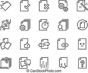 Line Document Flow Management Icons
