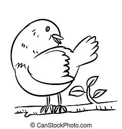 Line drawing bird - Vector illustration