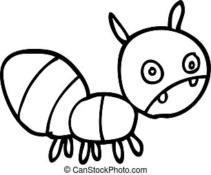 line drawing cartoon anxious ant