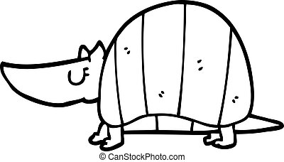 line drawing cartoon armadillo