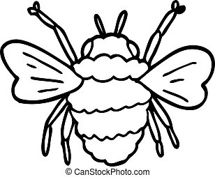 line drawing cartoon bumble bee