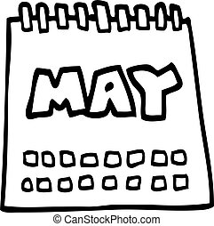 line drawing cartoon calendar showing month of may