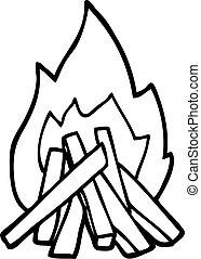line drawing cartoon camp fire