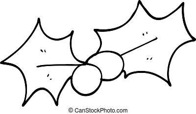 line drawing cartoon christmas holly