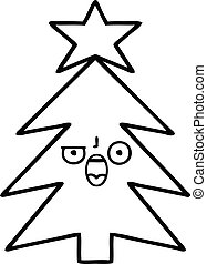 line drawing cartoon christmas tree
