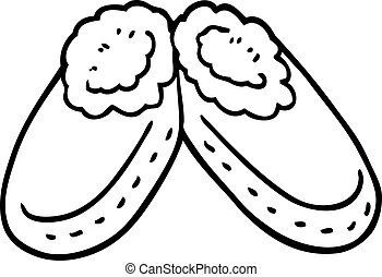 line drawing cartoon comfy slippers