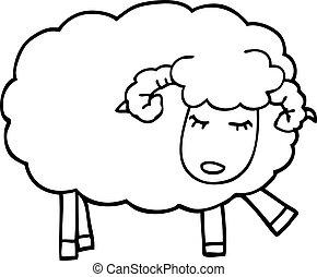 line drawing cartoon cute sheep