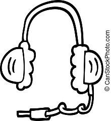 line drawing cartoon ear phones