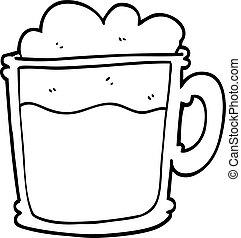 line drawing cartoon foamy latte