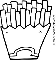 line drawing cartoon french fries