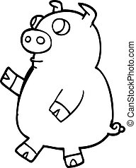 line drawing cartoon funny pig